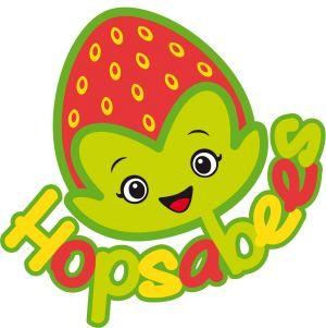 Logo van Hopsabees, een aardbei als een figuurtjes