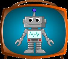Afbeelding van een robot in een televisietoestel