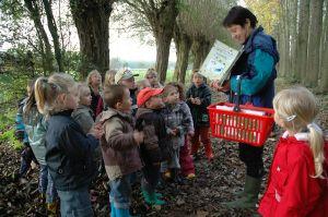 Leerkracht begeleid groep kleuters op activiteit in bos