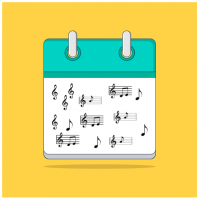kalender met muzieknoten