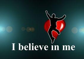 silhouet van een jongen die springt voor de woorden I believe in me