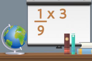 Op een digitaal bord staat een oefening breuk vermenigvuldigen met natuurlijk getal.