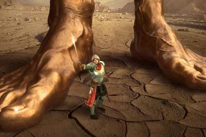 ridder en voeten van een reus