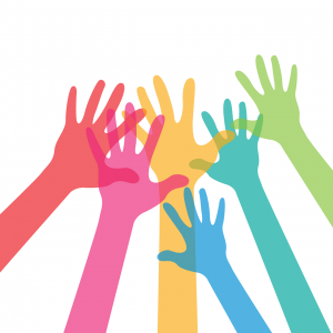 handen in de lucht in allerlei kleuren