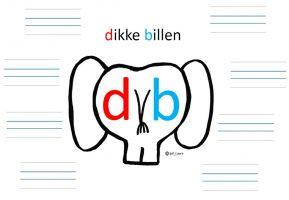Achterkant van olifant met letters d en b