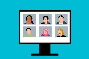Illustratie van computerscherm met zes personen in een videovergadering