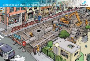 Scheiding van afval- en regenwater in de straat