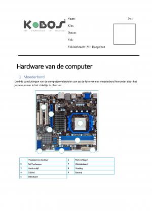 Voorbeeld uit: Taak hardware van de computer.docx