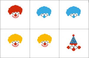 Voorbeeld uit de memory met afbeeldingen van verschillende clowns