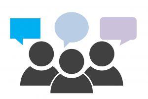 Drie icoontjes van personen met een tekstballonnetje