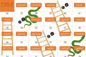 Voorbeeld uit slangen en ladders, woorden met be-, ge- en ver-