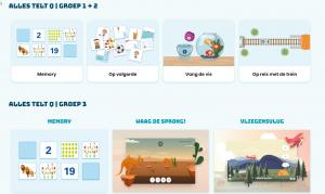 Screenshot startpagina met links voor verschillende rekenspellen
