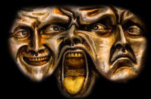 drie gezichten: blij, boos en verdrietig