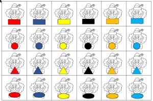 Voorbeeld van verschillende clowns met verschillende vormen en kleuren
