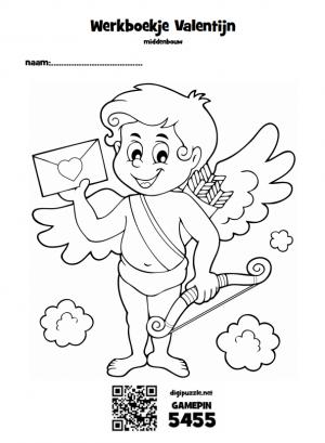 Voorblad werkboekje met afbeelding van een valentijnsfiguur