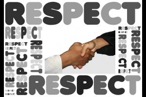 woorden respect rond een handdruk