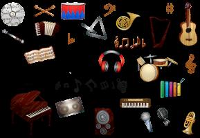 een verzameling van instrumenten en muzieksymbolen