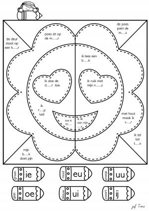 Voorbeeld uit tweeklanken kleuren volgens de code