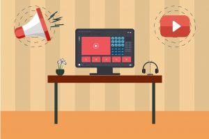 computerscherm met icoontjes van YouTube en een microfoon