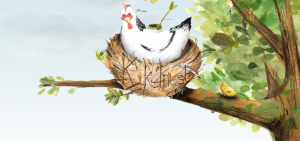 Screenshot homepage website Kakelnest, met tekening van een vogel in een nest