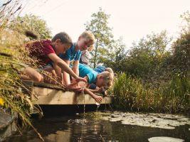 kinderen voeren waterproefjes uit