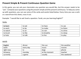 Voorbeeld uit: Present Simple and Present Continuous Question Game.pdf