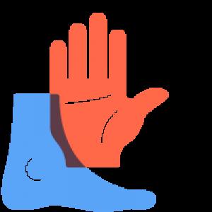 Illustratie van een hand en een voet