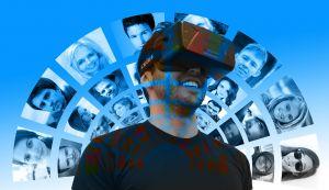 man in virtual reality met VR-headset