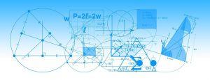 grafieken en meetkundige figuren op een blauw-witte achtergrond