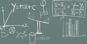 wiskundige symbolen en grafieken op een groen bord