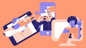 Drie personen zoeken verbinding achter hun scherm