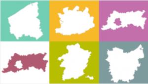 Lijntekeningen van alle Vlaamse provincies
