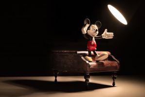 Mickey op een piano