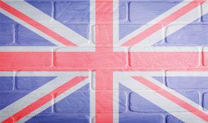 bakstenen met de Englse vlag