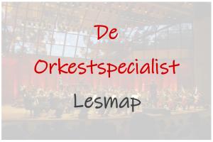 Afbeelding van een orkest en dan de tekst orkestspecialist en lesmap