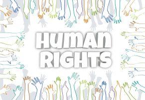 handjes rond het woord human rights