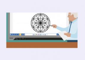 illustratie van leerkracht aan het bord