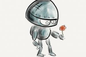 tekening van een robot die een bloem vasthoudt