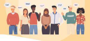 Mensen die hallo zegen in hun moedertaal