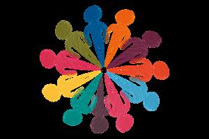 picto van gekleurde mannetjes in een king