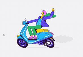 Meisje met helm op motorfiets