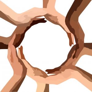 handen met verschillende huidskleuren in een cirkel