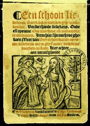 Titelpagina van het Antwerps liedboek (1544).