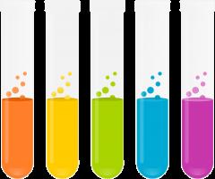 glazen buisjes met gekleurde vloeistof in