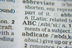 detail van een bladzijde uit een woordenboek