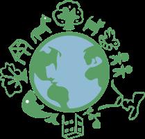 wereldbol met verschillende tekens daarrond