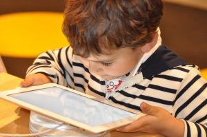 Pupil looking at tablet