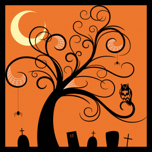 Graveyard with spider and owl and tree and moon