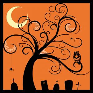 Kerkhof met spin en uil en boom en maan