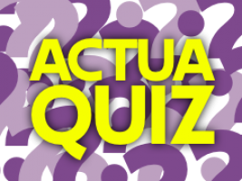 the word actuaquiz on a background of question marks